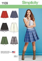 Simplicity Women's Pleated Short Skirt Sewing Pattern 1109