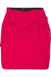 Maje Ruched Crepe Mini Skirt Bright Pink
