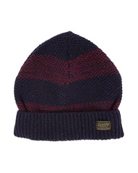 Scotch And Soda Navy Burgundy Striped Woollen Hat