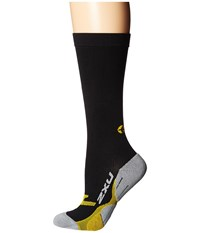 2Xu Flight Compression Socks Black Yellow Women's Knee High Socks Shoes Gray