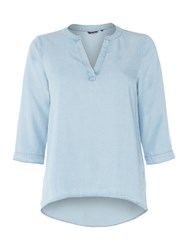 Salsa 3 4 Sleeve Tunic Top Blue
