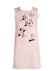 Claire Barrow Cat And Mouse Print Square Neck Denim Dress Light Pink
