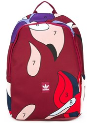 Adidas Originals Abstract Print Large Backpack Red