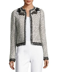 Giambattista Valli Embellished Fringe Tweed Jacket White Multi