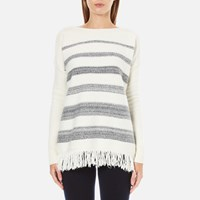 Woolrich Women's Soft Blanket Sweater Frost White Stripe
