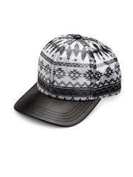 Gents Aztec Leather Cap White Black