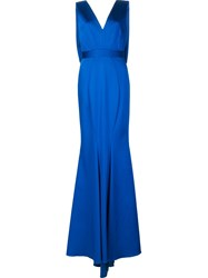 Zac Posen V Neck Gown Blue