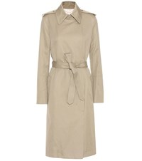 Helmut Lang Cotton And Linen Trench Coat Beige