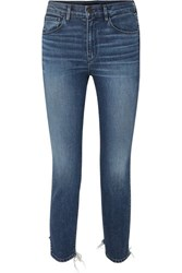 3X1 W3 Cropped Distressed High Rise Skinny Jeans Mid Denim