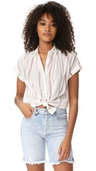 Madewell Central Striped Shirt Eyelet White