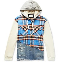 Greg Lauren Panelled Cotton Blend Waffle Knit Flannel And Denim Jacket Blue