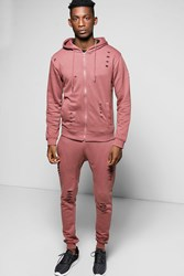 Boohoo Fit Distressed Hooded Tracksuit Pink