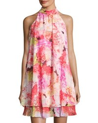 Eliza J Halter Neck Floral Print Double Layer Dress Pink Pattern
