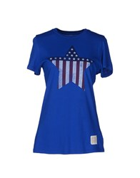 Retro Brand Topwear Short Sleeve T Shirts Women Blue