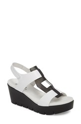 Bos. And Co. Somo Platform Wedge Sandal White Black Smooth Leather
