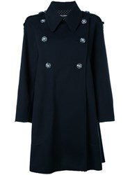 Dolce And Gabbana Double Breasted Coat Women Cotton Polyester Spandex Elastane 40 Black