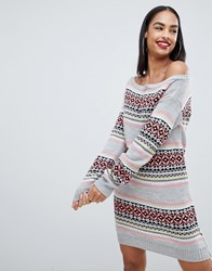 Club L Christmas Off The Shoulder Jumper Dress With All Over Intarsia Fairsle Print Grey
