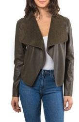 Bagatelle 'S Drape Faux Leather And Faux Suede Jacket Bonsai