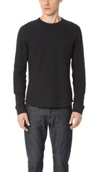 Vince Raw Edge Long Sleeve Crew Neck Tee Heather Manhattan Navy