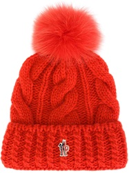 Moncler Grenoble Cable Knit Pompom Beanie Red