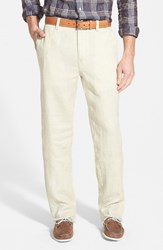 Men's Big And Tall Tommy Bahama 'Summerland Keys' Flat Front Linen Pants Khaki Sands