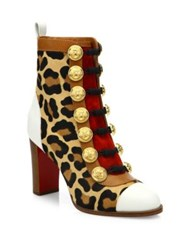Christian Louboutin Who Dances 85 Leopard Print Calf Hair Booties Gold