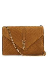 Saint Laurent Monogram Large Quilted Suede Shoulder Bag Tan