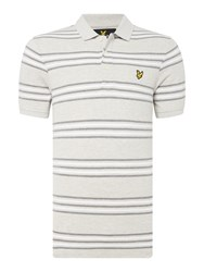 Lyle And Scott Men's Short Sleeve Striped Polo Light Grey Marl