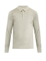 Hamilton And Hare Long Sleeved Cotton Polo Shirt Grey