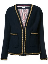 Thom Browne Chain Detail V Neck Jacket Blue