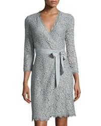 Diane Von Furstenberg Julianna 3 4 Sleeve Lace Wrap Dress Lilac
