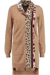 Just Cavalli Leopard Print Satin Paneled Wool Cardigan Nude