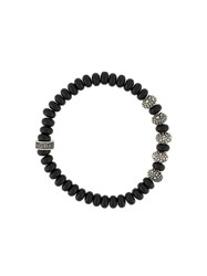 King Baby Studio Stingray Textured Beaded Bracelet Black