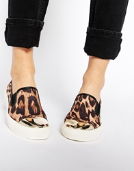 New Look Metalhead Toe Cap Animal Print Slip On Trainers Leopard