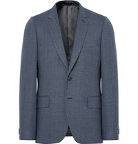 Paul Smith Blue Soho Slim Fit Melange Wool Blazer Blue