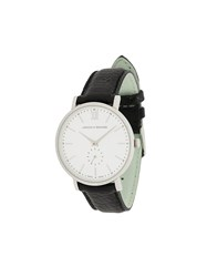 Larsson And Jennings Lugano Jura Black Leather 38Mm Watch White