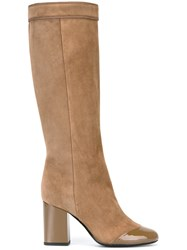 Lanvin Pull On High Heel Boot Nude And Neutrals