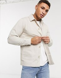Brave Soul Doron Worker Jacket With Pockets In Tan Stone