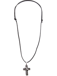 Gavello Diamond Embellished Cross Necklace Black