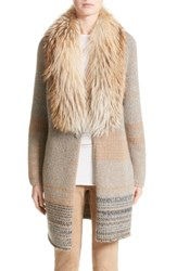 Fabiana Filippi Women's Cashmere Cardigan With Removable Genuine Fox Fur Collar Camel Grey Multi