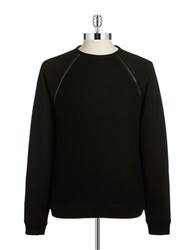 Guess Raglan Zip Pullover Sweater Black