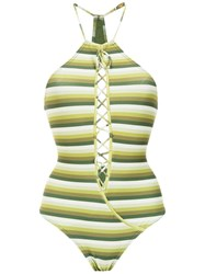 Amir Slama Striped Swimsuit Green