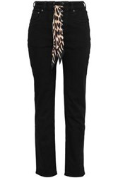Rockins Silk Trimmed High Rise Straight Leg Jeans Black