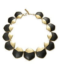 Rachel Zoe Graduated Hexagonal And Leather Accented Collar Necklace Gold