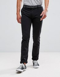 Tom Tailor Chino With Belt In Black 2627