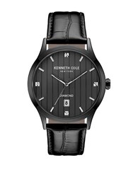 Kenneth Cole Diamond Analog Stainless Steel Analog Leather Strap Watch Black