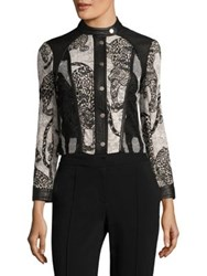 Yigal Azrouel Cheetah Embroidered Lace Jacket Optic Multi