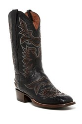 Lucchese Embroidered Ostrich Western Boot Black