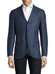 Isaia Slim Fit Gingham Silk And Wool Sportcoat Light Blue