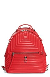 Fendi Small Quilted Lambskin Leather Backpack Red
